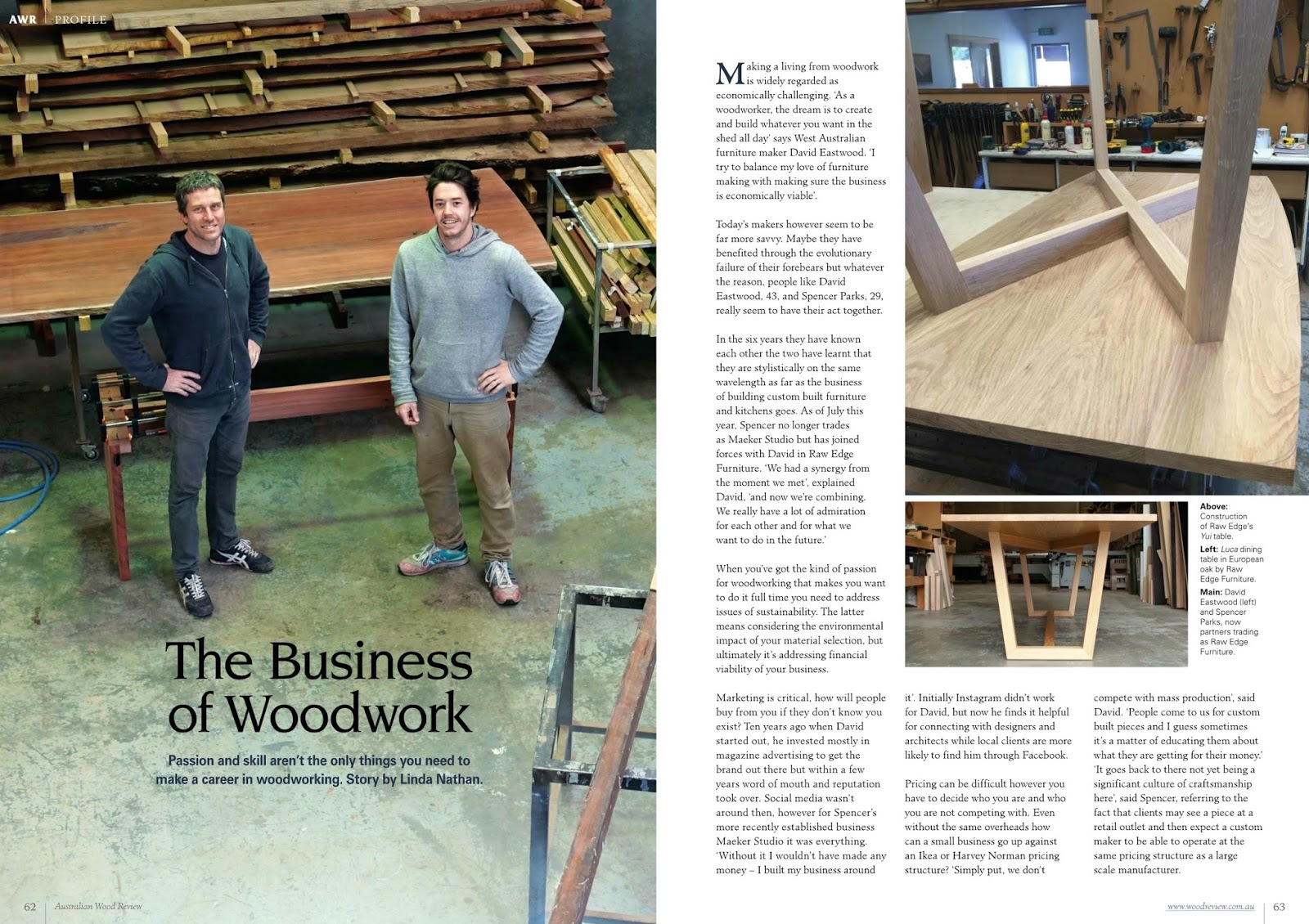 raw edge furniture » the business of woodwork
